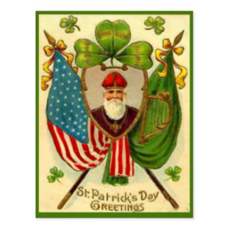 Vintage St Patrick American Flag St Patrick's Day Postcard