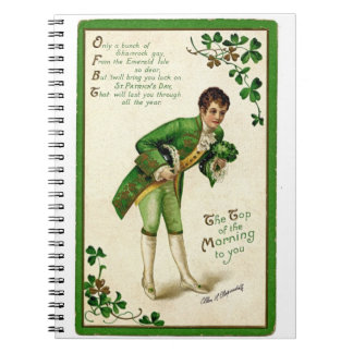 Vintage St Patrick Day's greetings traditional man Notebook