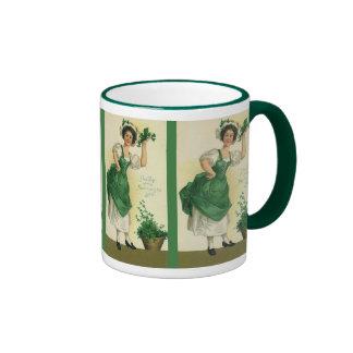 Vintage St Patrick s Day Lass Lucky Shamrocks Mug