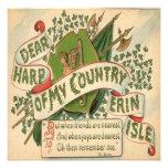 Vintage St Patricks Day 4 Greeting Card Custom Invitations