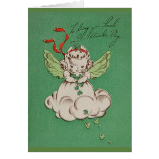 Vintage St. Patrick's Day Angel Luck Greeting Card