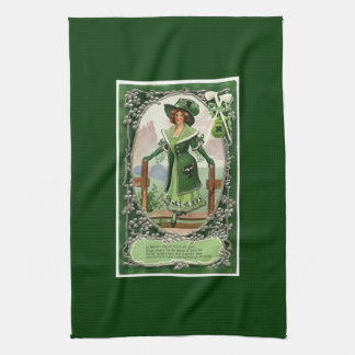 Vintage St. Patrick's Day Girl Kitchen Towel