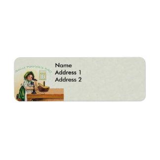 Vintage St. Patrick's Day Girl Return Address Labels