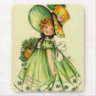 Vintage St. Patrick's Day Girl Mouse Pad