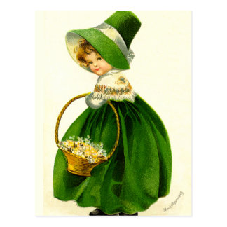 Vintage St. Patrick's Day Girl Postcard