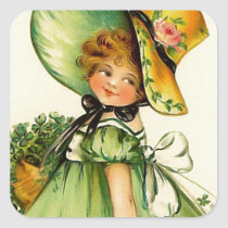 Vintage St. Patrick's Day Girl Square Sticker