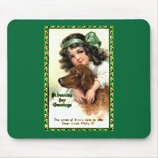 Vintage St Patricks Day Greeting Card Products Mouse Pads