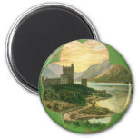 Vintage St. Patricks Day Greetings Castle Shamrock 2 Inch Round Magnet