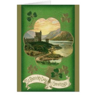 Vintage St. Patricks Day Greetings Castle Shamrock Card