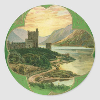 Vintage St. Patricks Day Greetings Castle Shamrock Classic Round Sticker