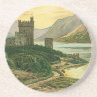 Vintage St. Patricks Day Greetings Castle Shamrock Coaster