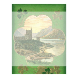 Vintage St. Patricks Day Greetings Castle Shamrock Flyer
