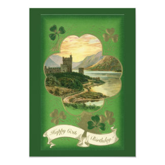 Vintage St. Patricks Day Greetings Castle Shamrock 5x7 Paper Invitation Card