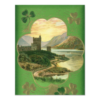 Vintage St. Patricks Day Greetings Castle Shamrock 4.25x5.5 Paper Invitation Card