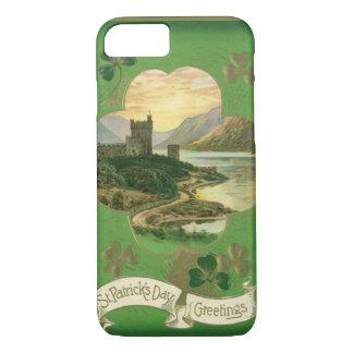 Vintage St. Patricks Day Greetings Castle Shamrock iPhone 7 Case
