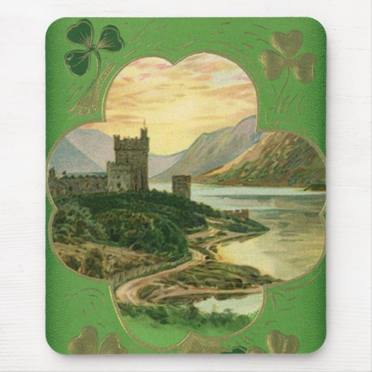 Vintage St. Patricks Day Greetings Castle Shamrock Mouse Pad