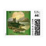 Vintage St. Patricks Day Greetings Castle Shamrock Postage Stamps