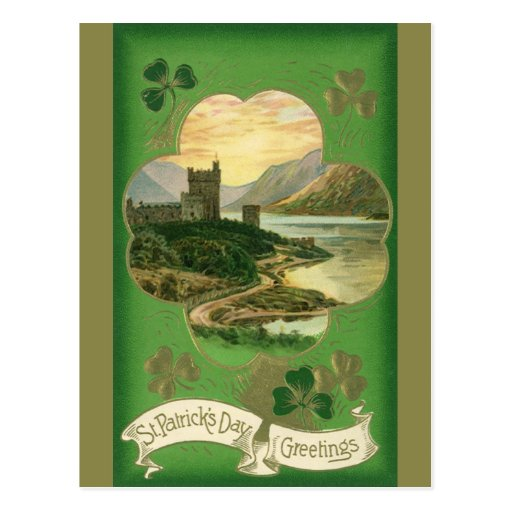 Vintage St. Patricks Day Greetings Castle Shamrock Postcard