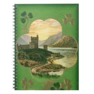 Vintage St. Patricks Day Greetings Castle Shamrock Spiral Notebook