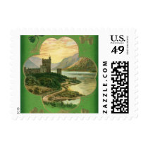Vintage St. Patricks Day Greetings Castle Shamrock Stamp