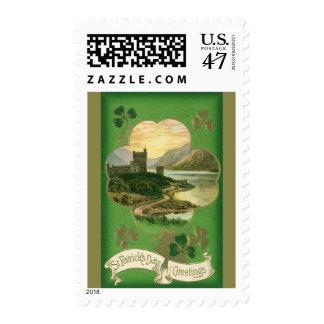 Vintage St. Patricks Day Greetings Castle Shamrock Stamp