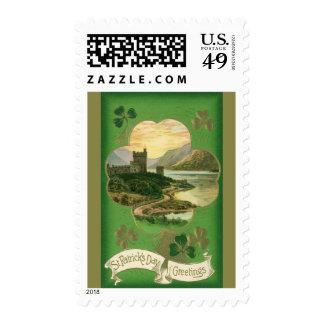 Vintage St. Patricks Day Greetings Castle Shamrock Stamps