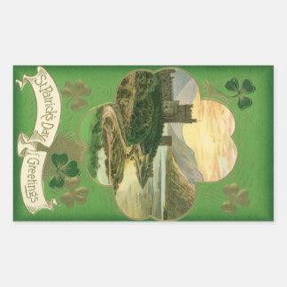 Vintage St. Patricks Day Greetings Castle Shamrock Rectangle Stickers