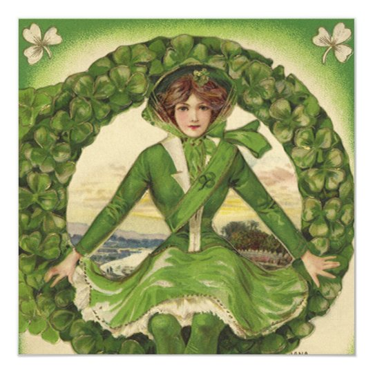 Vintage St. Patrick's Day Greetings, Clover Lassy Card