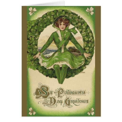Vintage St. Patrick's Day Greetings, Clover Lassy Cards