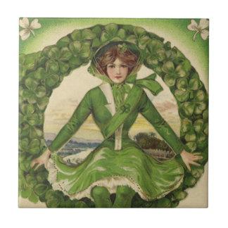 Vintage St. Patrick's Day Greetings, Clover Lassy Ceramic Tile