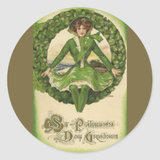 Vintage St. Patrick's Day Greetings, Clover Lassy Classic Round Sticker