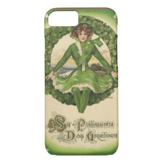 Vintage St. Patrick's Day Greetings, Clover Lassy iPhone 8/7 Case