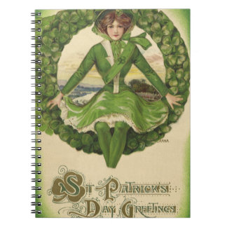 Vintage St. Patrick's Day Greetings, Clover Lassy Notebook