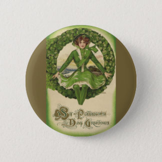 Vintage St. Patrick's Day Greetings, Clover Lassy Pinback Button