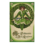 Vintage St. Patrick's Day Greetings, Clover Lassy Print