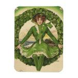 Vintage St. Patrick's Day Greetings, Clover Lassy Rectangular Photo Magnet