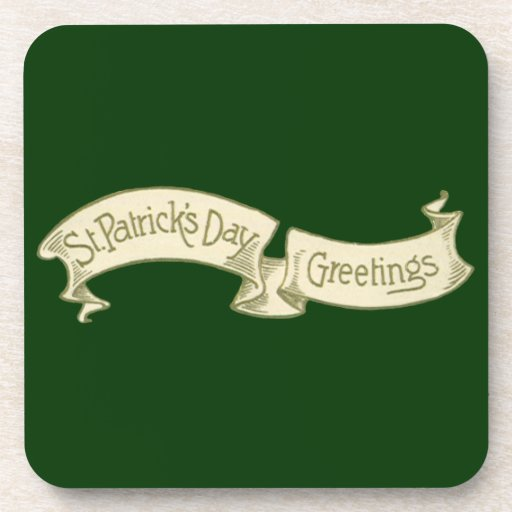 Vintage St. Patrick's Day Greetings Golden Banner Coasters