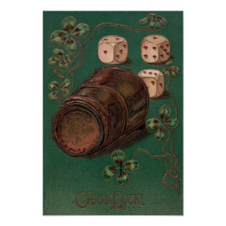 Vintage St. Patrick's Day Irish Good Luck Dice Poster