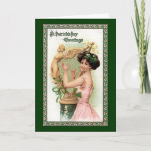 Vintage St. Patrick's Day Lady and Harp Card