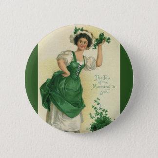 Vintage St. Patrick's Day Lass, Lucky Shamrocks Button