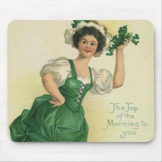 Vintage St. Patrick's Day Lass, Lucky Shamrocks Mouse Pad