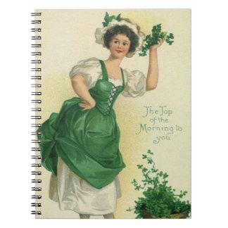 Vintage St. Patrick's Day Lass, Lucky Shamrocks Notebook