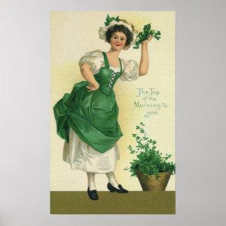 Vintage St. Patrick's Day Lass, Lucky Shamrocks Print
