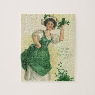 Vintage St. Patrick's Day Lass, Lucky Shamrocks Jigsaw Puzzles