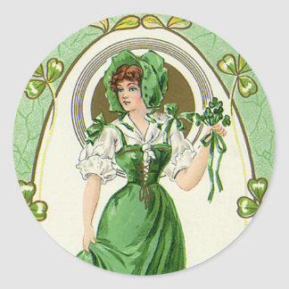 Vintage St. Patrick's Day, My Pretty Irish Colleen Classic Round Sticker