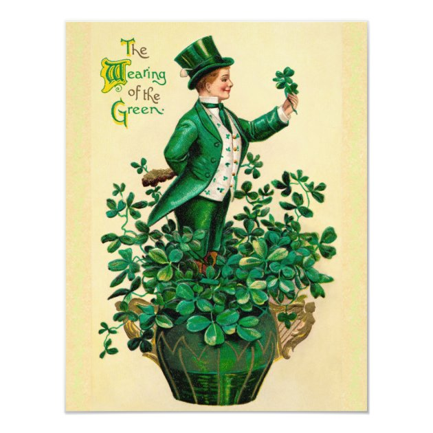 Vintage St. Patrick's Day Party Invitations! 4.25x5.5 Paper Invitation Card