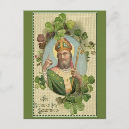 Vintage St Patricks Day Prayer  Blessing Postcard