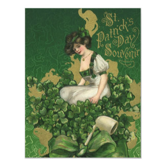 Vintage St. Patrick's Day Souvenir, Irish Lass Card
