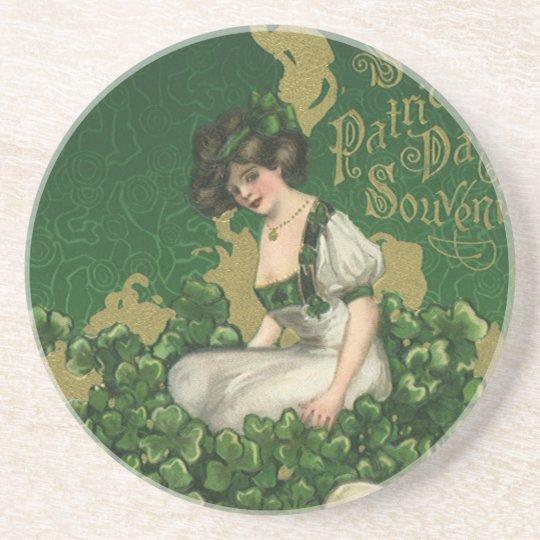 Vintage St. Patrick's Day Souvenir, Irish Lass Drink Coaster