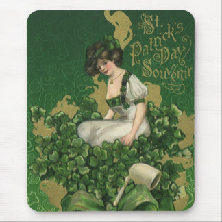 Vintage St. Patrick's Day Souvenir, Irish Lass Mouse Pad